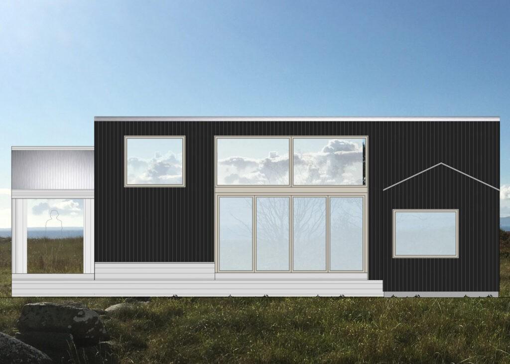 Arkitektritad fasadritning på ombyggnad av fritidshus på Bjärehalvön