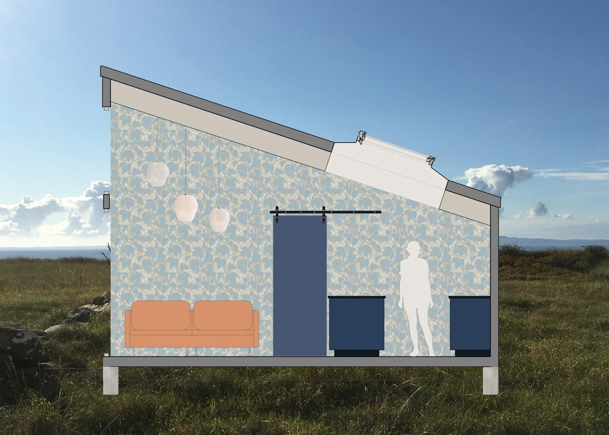 Arkitektritad sektionsritning på ombyggnad av fritidshus på Bjärehalvön